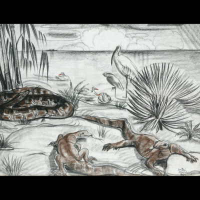 André MAIRE «Animaux en bord de rivière»
