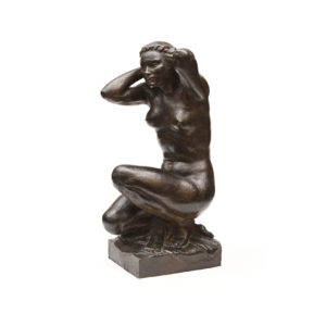 Pierre TRAVERSE – «Nu accroupi se coiffant»