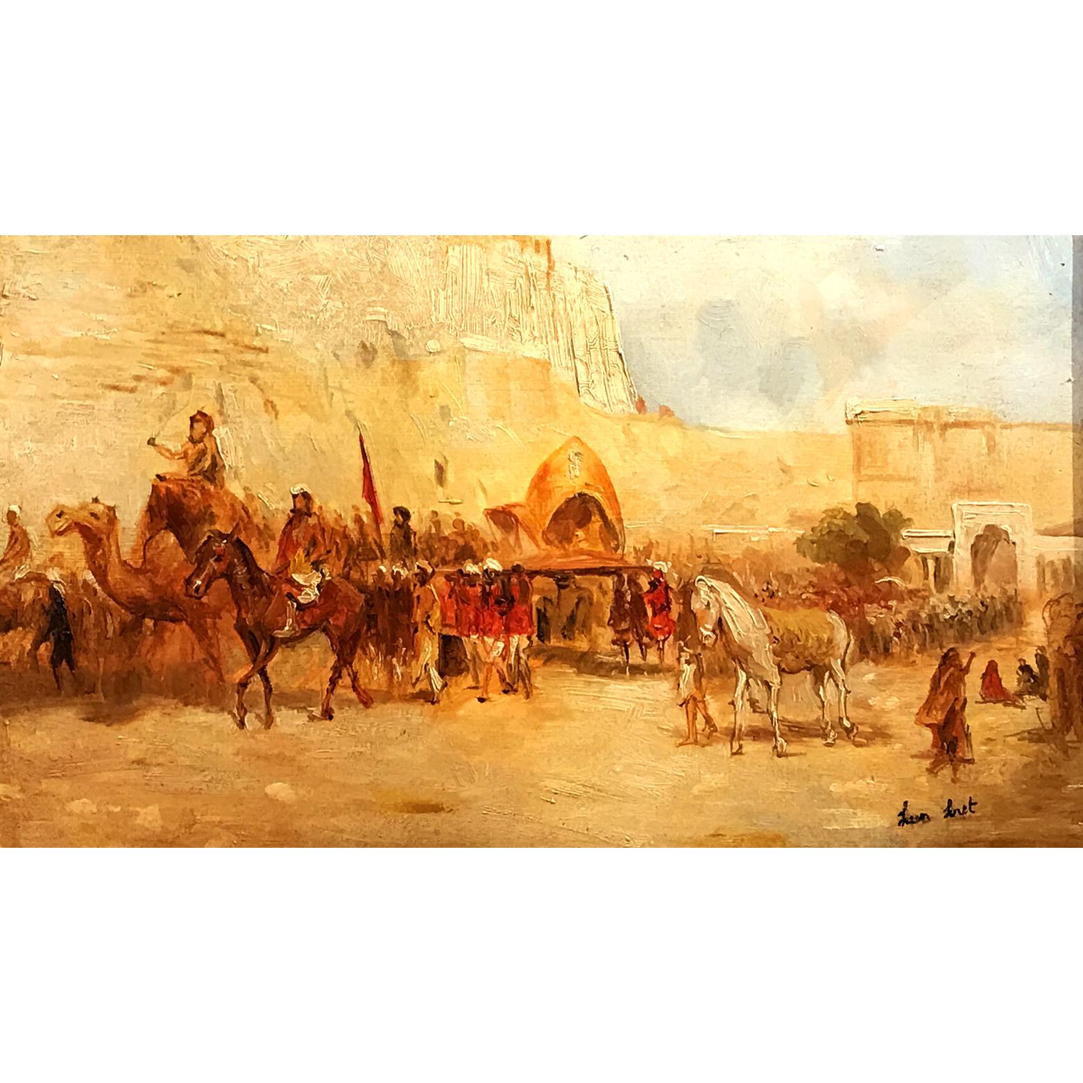 Léon Luret Scène animée aux Indes