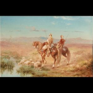 Paul PASCAL – «Cavaliers au bord d'un oued»
